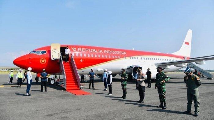 Pesawat Kepresidenan dengan Cat Baru Merah Putih Perdana Dipakai Jokowi ke Jatim, Intip Fotonya