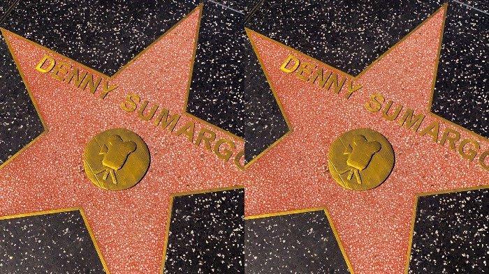Potret nama Denny Sumargo yang terpampang di Hollywood Walk of Fame.