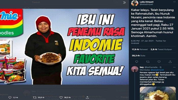 Penemu Varian Rasa Indomie, Nunuk Nuraini Meninggal, Warganet Ungkap Rasa Duka dan Terimakasih