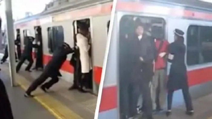 Viral Video Petugas Menjejalkan Penumpang ke Dalam Kereta di Jepang, Terlihat Ekstrem Tapi Beretika