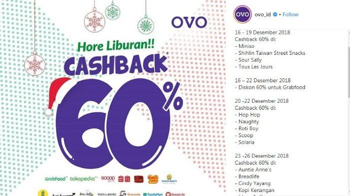 Promo OVO Desember 2018 - Gajian Akhir Tahun Ini dapat Cashback 60%, Cek Ketentuannya Yuk!