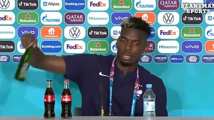 Usai Ronaldo Geser Botol Coca-Cola, Giliran Paul Pogba Singkirkan Botol Heineken saat Jumpa Pers