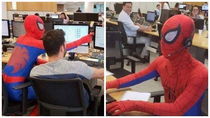 Viral, Banker ini Masuk Kantor dengan Kostum Spiderman di Hari Terakhirnya Kerja