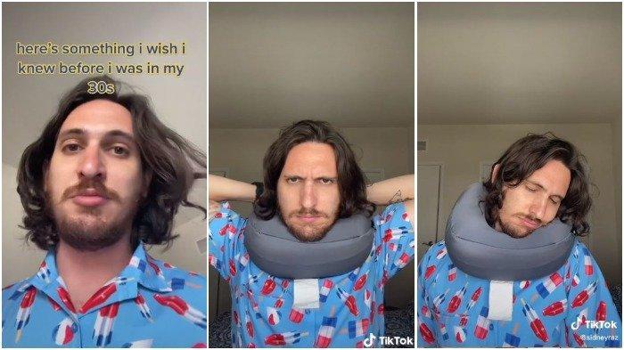 Video Viral Seorang Pria Tunjukkan Cara yang Benar Menggunakan Bantal Leher Bentuk 'U'