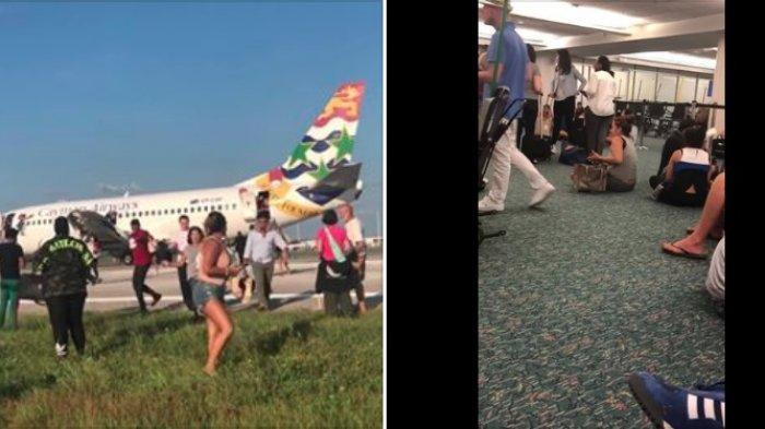 Viral di Medsos - Diduga Berasap, Pesawat Mendarat Darurat dan Penumpang Berlari Selamatkan Diri