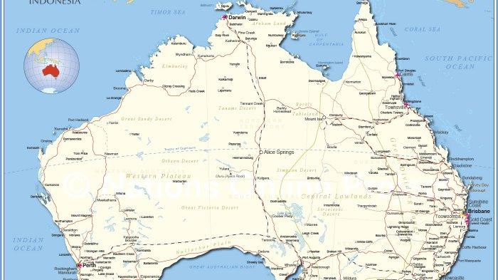 Jual Peta Australia & Selandia Baru (Lipat) - Jakarta