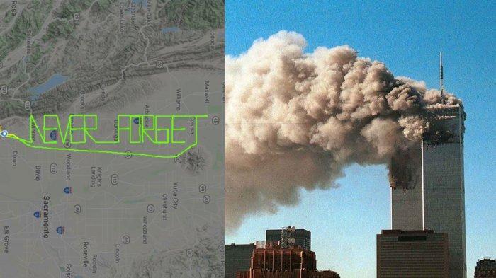 Pilot Tuliskan Kalimat 'Never Forget' di Udara untuk Peringati 20 Tahun Serangan 9/11 Menara WTC