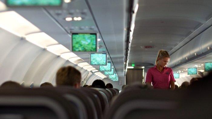 Ilustrasi - Pramugari yang sedang bertugas di kabin pesawat.