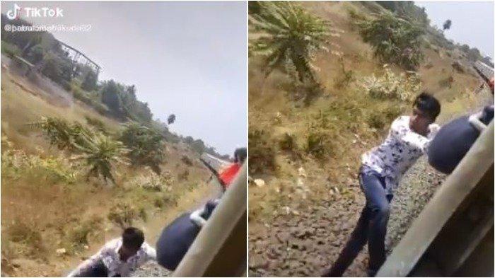 Demi Video Tik Tok, Pria Ini Nekat Gelantungan di Kereta Api hingga Jatuh ke Bawah Gerbong