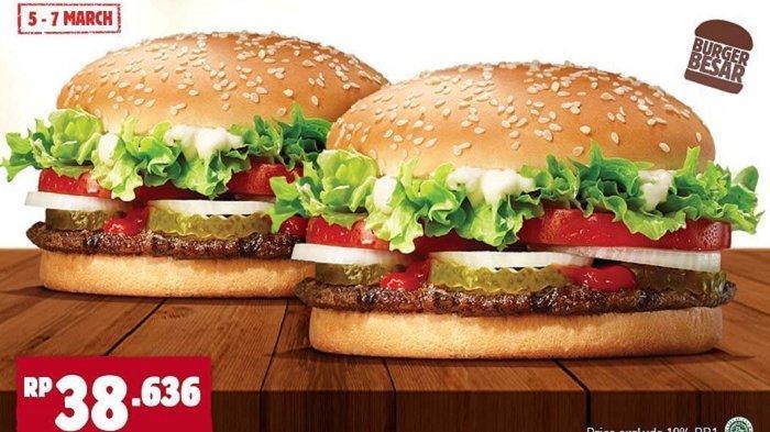 Promo Burger King - Beli 1 Gratis 1 Burger Whopper Porsi Besar, Cek Ketentuan Promonya
