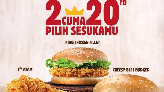 3 Promo Dobel Deal Burger King Maret 2019, Pilih 2 Menu Harga Mulai Rp 20 Ribu