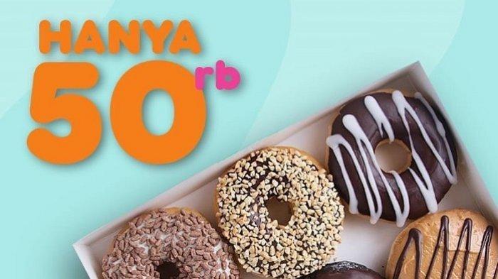Promo Dunkin Donuts - Modal Rp 50 Ribu Dapat 6 Donut  dan 1 Minuman Dingin, Cek Caranya Berikut