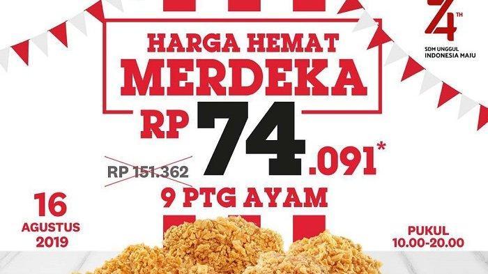 Promo KFC Sambut HUT ke-74 RI, Harga 9 Ayam Rp 74 Ribuan hingga Gratis Sundae