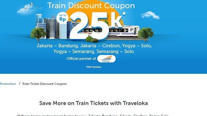 Diskon Tiket Kereta Api hingga Rp 25 Ribu dari Traveloka, Cek Rute dan Syaratnya!