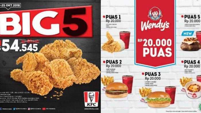 3 Promo Spesial Oktober, Mulai dari KFC BIG5 sampai Paket PUAS Wendy's