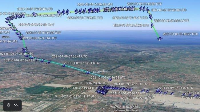 Rute Sriwijaya Air SJ182 Bisa Ditampilkan Secara 3D Melalui Google Earth