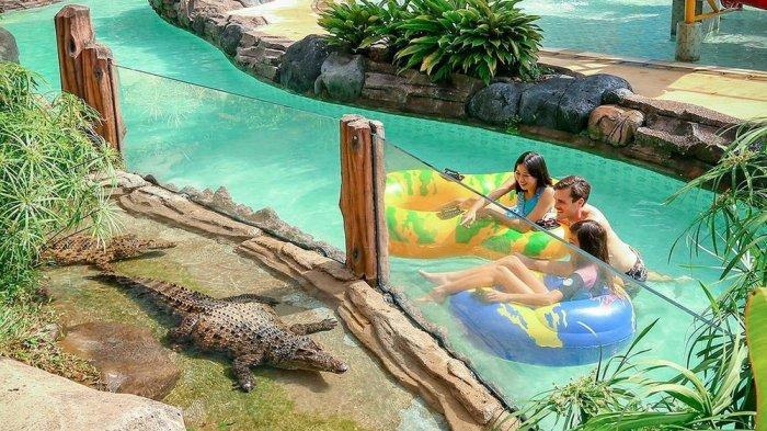 Pengunjung bisa menikmati bermain air bersama buaya yang dibatasi dengan pagar kaca.