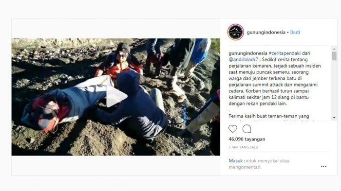 Pendaki Asal Jember Terkena Batu Saat Menuju Puncak Semeru, Video Evakuasi Tersebar di Instagram