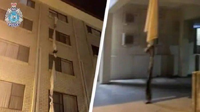 Seorang Pria Melarikan Diri dari Karantina Hotel, Mengikat Seprei pada Jendela Kamar di Lantai Empat