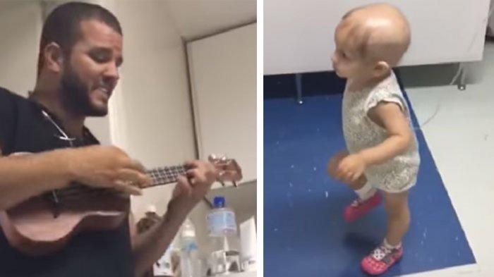 Lucunya Aksi Balita Penderita Kanker Menari saat Dokter Menyanyi dan Memainkan Ukulele