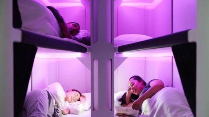Tidur di Pesawat Kelas Ekonomi Makin Nyaman, Bakal Dilengkapi Hotel Kapsul