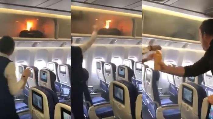 Suasana kacau di dalam kabin pesawat karena powerbank terbakar