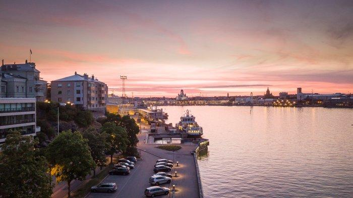 Suasana sore di Uusimaa, sebuah kawasan di Finlandia selatan