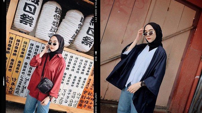 Tampil Modis dengan Hijab ala Selebgram Intan Khasanah, Padukan Kimono Outer dan Celana Jeans