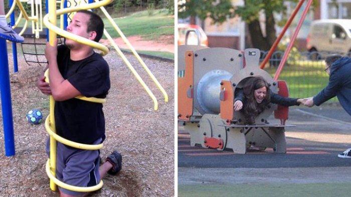 10 Momen Tidak Terduga Orang Dewasa yang Tersangkut di Taman Bermain Anak