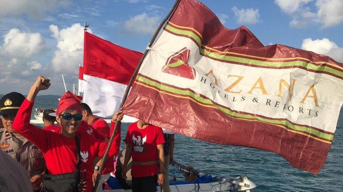 HUT RI ke-74, The Novena Hotel Bone Ikuti Pengibaran Bendera Merah Putih Terpanjang di Tengah Laut