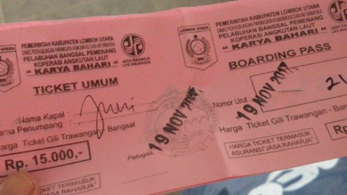 Tiket boat umum menuju Gili Trawangan dari Pelabuhan Bangsal.