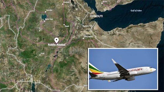 Pesawat Ethiopian Airlines jatuh enam menit setelah lepas landas dari Bandara Bole, Addis Ababa, Etiopia, Minggu (10/3/2019).