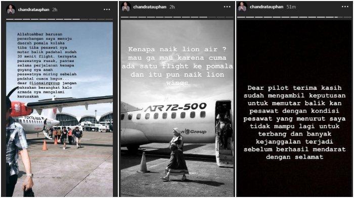 Unggahan Story Chandra Tauphan mengenai kendala penerbangan pesawat Lion Air