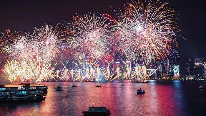 Pesta kembang api di Hong Kong
