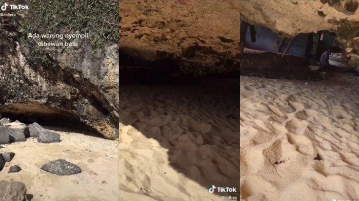 Viral Warung di Bawah Batu Karang Pantai Sadeng Gunungkidul, Masuk Harus Merangkak