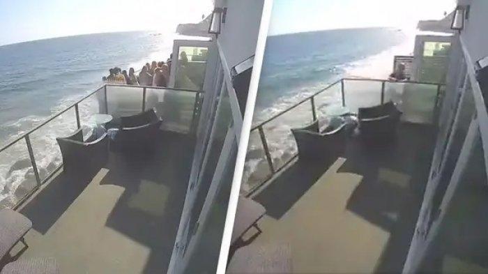 Viral di Medsos, Detik-detik Balkon di Tepi Pantai Runtuh saat Tamu Asyik Berpesta
