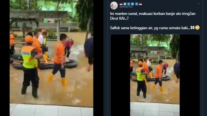 Video Dirut PT KAI Tinjau Banjir Pakai Perahu Karet Viral di Medsos, Humas KAI Beri Penjelasan