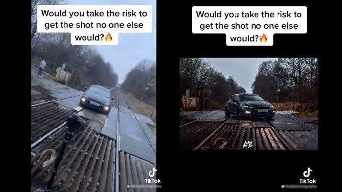 Video viral TikTok sebuah mobil parkir di jalur kereta api
