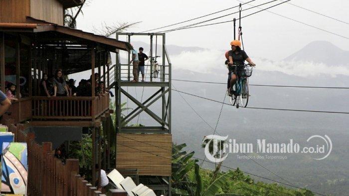 Mencoba Sepeda Langit di Raewaya Hills, Tempat Wisata Baru di Minahasa Utara