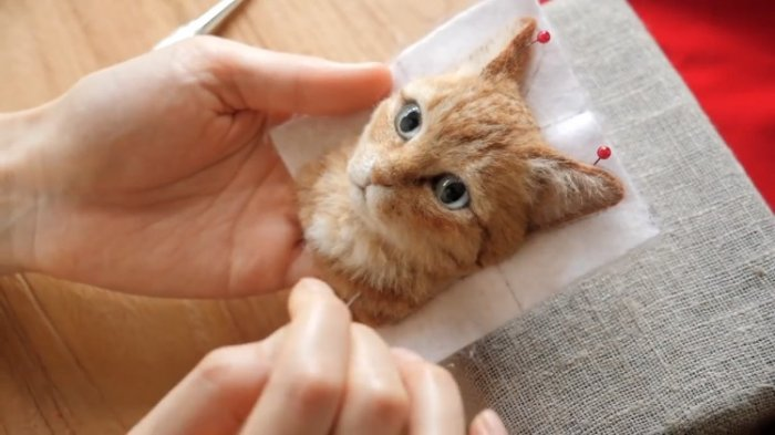 Seniman Jepang Ciptakan Potret Kucing 3 Dimensi dari Benang Wol, Hasilnya Mirip Kucing Asli