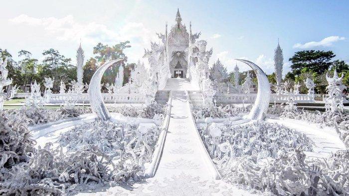 Melihat Kemegahan Wat Rung Khun, Kuil Buddha di Thailand yang Dominasi Warna Putih