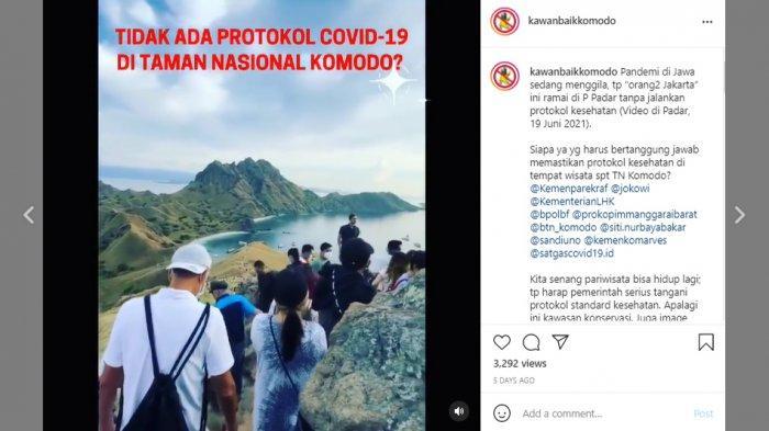 Wisatawan memadati Pulau Padar, Taman Nasional Komodo, Nusa Tenggara Timur (NTT) pada Sabtu (19/6/2021).
