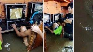 Viral Video Remaja Nekat Main Game saat Warnet Terendam Banjir dan Terjadi Topan