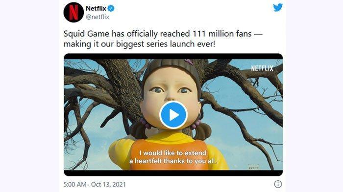 Squid Game jadi tayangan terpopuler Netflix