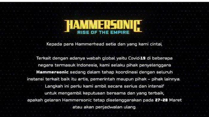 Wabah Corona Masuk Indonesia, Panitia Hammersonic 2020 Terus Pantau Keadaan