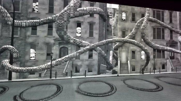 Satu di antara karya Darbotz Cumi Kong.  Cumi Kong merupakan karakter animasi ciptaannya yang berlatarkan suasana perkotaaan.