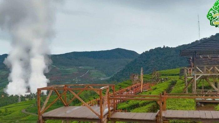 jembatan untuk melihat pemandangan hamparan kebun di Wayang Windu Panenjoan, Pangalengan, Kabupaten Bandung