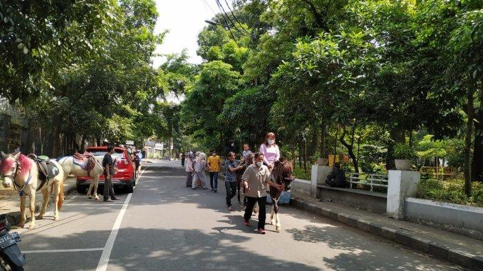 Wisatawan menyewa kuda untuk ditunggangi mengelilingi Taman Cilaki, Kota Bandung, Jumat (14/5/2021)