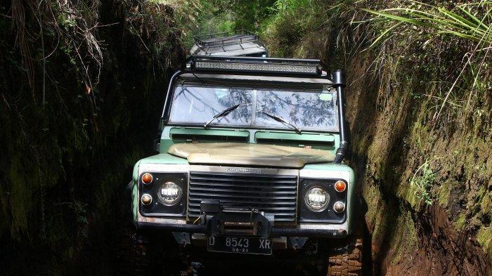 Sejumlah mobil Land Rover yang tergabung dalam Land Rover Club Bandung (LRCB) melakukan penjelajahan hutan membawa wisatawan berwisata offroad di trek Sukawana - Cikole,  Kabupaten Bandung Barat, Rabu (2/12/2020)