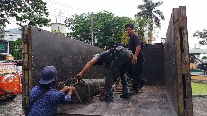 Satu unit meriam peninggalan Kolonial Belanda yang diserahkan ke Museum Perjuangan Rakyat Jambi